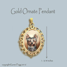 YORKSHIRE TERRIER Puppy Yorkie -  ORNATE GOLD PENDANT NECKLACE