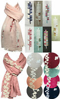Womens Floral Crochet Embroidery Long Scarf Wrap Shawl Flowers Hijab Maxi Big