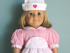 Pink/White CANDY STRIPER CANDYSTRIPER COSTUME & HAT fits all American Girl Dolls