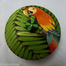 VINTAGE HAND PAINTED WOODEN TROPICAL MACAW PARROT BIRD ROUND TRINKET BOX