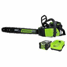 GreenWorks Pro GCS80420 80V 18-Inch Cordless Chainsaw, 2Ah Li-Ion Battery and Ch
