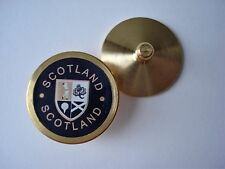 GOLF GIFT - SCOTLAND BLUE BALL MARKER IN BRASS WITH COAT OF ARMS - ST ANDREWS
