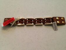 Cara New York Brown Faux Leather Goldtone Metal Bracelet