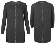 All Saints Chain Jumper Knit Tunic Dress in Charcoal Uk 6