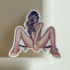 sexy hook ups style pin up pinup skateboard girl 8x8.5cm decal sticker #2435