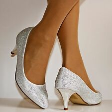 Ladies 1013 Wedding Bridal Prom Party Low Kitten Heel Diamante Court Shoes pumps
