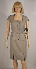 Nine West Size 12P Expresso Brown Weave Cap Sleeve Belted Jacket Skirt Suit  NEW