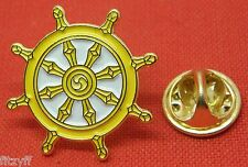Wheel of Dharma Law Dharmachakra Lapel Hat Tie Pin Badge Buddhism Buddha Brooch