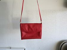 CARLOS D' SHANTI RED LEATHER SHOULDER BAG/CROSS BODY PURSE