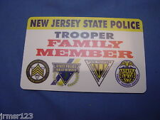 LIFETIME NJSP NEW JERSEY STATE POLICE CARD FAMILY MEMBER PBA FOP