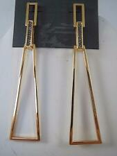 Vince Camuto gold tone~crystal long drop earrings, NWT