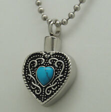 TURQUOISE CREMATION JEWELRY TURQUOISE URN NECKLACE HEART MEMORIAL KEEPSAKE