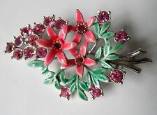 VINTAGE Rosa e Verde Floreale Fiore SMALTO E ORO DORATI RETRO rosa e diamante spilla