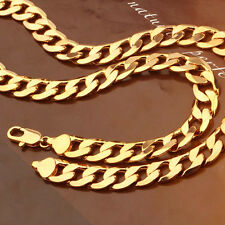Heavy 60g 55cm 18k Yello Gold Filled Curb Link Chain Necklace Man Woman N-A436