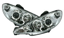 Clear chrome Headlights front lights with angel eye rings for PEUGEOT 206