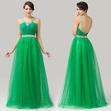 Green Long Cocktail Ball Gown Evening Party Prom Formal Tulle Bridesmaid Dress
