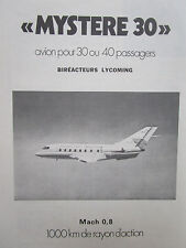 1973-1974 PUB AVIONS MARCEL DASSAULT MYSTERE 30 BIREACTEUR LYCOMING FRENCH AD
