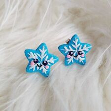 Polymer Clay Handmade Christmas Gifts For Girls Blue Star Snowflake Earrings