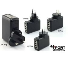 Universal 4 Port USB Travel Adapter US/EU/UK/AU Plug Wall Charger for Mobile TAB