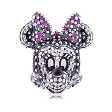 Genuine Pandora Silver Disney Sparkling Minnie Head Portrait Charm 791796NCK New