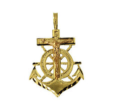 14K Solid 2 Two Tone Yellow Rose Gold Diamond Cut Small Jesus Anchor Pendant