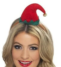 Ladies Christmas Fancy Dress Mini Elf Hat on Band Red/Green New by Smiffys New