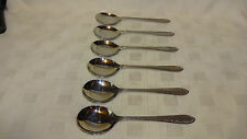 Retro Set Of 6 Stainless Steel Soup Spoons - Textured Bark Design Firth