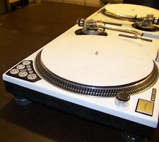 2 - WHITE Custom Technics 1200 MK2 turntable w/recessed dicer & blue LED's