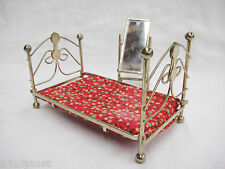 Dollhouse Miniature Furniture Brass Bed and Standing Floor Mirror Bedroom