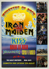 IRON MAIDEN Kiss GUNS N ROSES David Lee Roth Monsters of Rock programme 1988