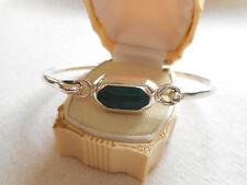 Vintage Taxco Sterling Silver Malachite Bangle Bracelet  363803