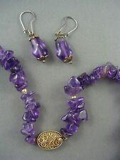Vintage Chinese Genuine Amethyst Necklace Matching Earrings Filigree Clasp
