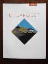 CHEVROLET 1992 Range USA Mkt brochure - Camaro Caprice Beretta Corvette Lumino