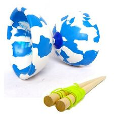 Blue and White Jester Diabolo & Wooden Sticks - Medium Rubber Diablo with Sticks