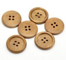 10 Color Marrón Claro 4 agujeros botones de costura de madera manualidades 25mm Gratis P&P