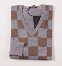NWT $675 BERTOLO Gray-Brown Check Super 120s Merino Wool Sweater L/52 V-Neck
