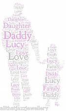 Personalised Word Art Daddy Dad father daughter family love gift card