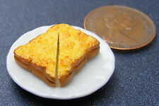 1:12 Scale 2.5cm Plate Of Sliced Cheese On Toast Dolls House Miniature Accessory