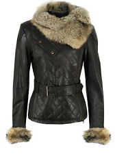 E Funk Outerwear Ladies Soft Lamb Leather Quilted Raccoon Fur Collar Jacket