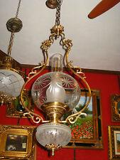 ANTICO LAMPADARIO A GABBIA,BRONZO PIENO A DUE LUCI,BICCHIERI IN CRISTALLO,1800