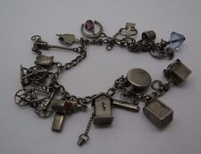 VINTAGE STERLING SILVER CHARM BRACELET WITH 17 MOVABLE CHARMS 1940's