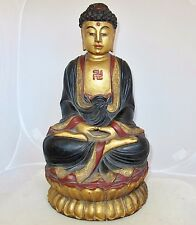 "15.5"" Antique Japanese or Chinese Painted & Gold Gilt Carved Wood Buddha Statue"