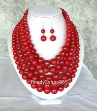 Red Faux Pearl Bead Necklace Chunky Long Strand Multi Layered Long Earrings Set