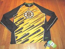 REEBOK NHL CENTER ICE PLAY DRY BOSTON BRUINS LONG SLEEVE PERFORMANCE SHIRT L
