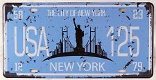The City Of New York Car License Plate Vintage Metal Tin Sign Wall Door Plaque