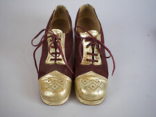 Original GLAM Vtg 1970s Men's Maroon Suede & Gold Platform Shoes Disco Stage