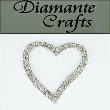 3D Heart Silver Alloy Encrusted in Clear Diamantes - Decoden Cabochon 3SHT2013