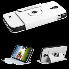 Samsung Galaxy S4 S IV Premium Wallet Case Rotating Pouch Flip STAND Cover White