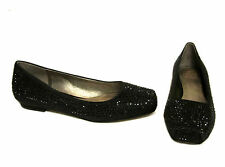 JOAN & DAVID Ignatius Black Satin Rhinestone Crystal Ballet Flats Shoes 6.5 $198