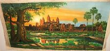 """ANCIENT TEMPLE ANGKOK WAT CAMBODIA OIL ON CANVAS PAINTING UNSIGNED 27"""" X 55"""""""